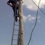 Tg. Ocna : Prinși în flagrant în timp ce sustrăgeau fier din stâlpii de electricitate