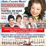 """Maria Ciobanu în spectacolul """"Lie, Lie Ciocârlie, Rămân a voastră Marie!"""" la Bacău"""