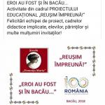 """CENTENAR 1918-2018 la ŞCOALA GIMNAZIALĂ """"DOMNIȚA MARIA""""-BACĂU"""