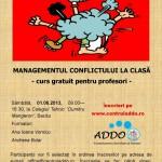 """""""Managementul conflictului la clasă"""",curs gratuit pentru profesori"""